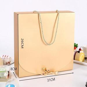 31CMX26CMX8CM Boîte-cadeau Gold Grand avec écharpe de corde Emballage Colorage Color Paper Color Box avec boîtier d'emballage sous-vêtements de ruban