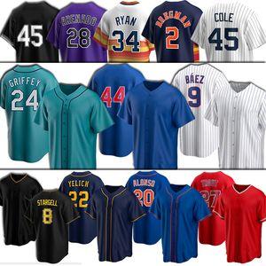 24 Ken Griffey Jr 20 Pete Alonso Jersey 22 Christian Yelich 8 Willie Stargell Bo Jackson Nolan Arenado 9 Javier Baez Rizzo Baseball-Shirts