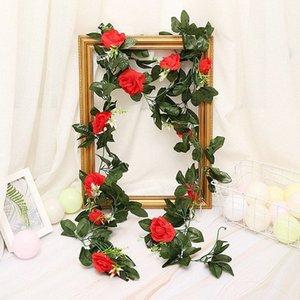 Ev Bahçe Dekorasyon DIY Düğün Kemerler Garland tuBT için # 33pcs Yeşil Yapraklar ile 240cm 11pcs Yapay Güller Çiçek Vines Rattan