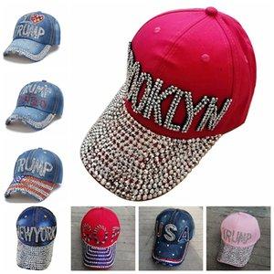 Trump 2020 Baseballmütze USA-Hut Wahlkampf-Cowboy-Diamant-Cap Adjustable Snapback Unisex Denim Diamant-Breathable Hat LJJP93