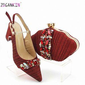 Горячий продавать 2020 лето новые прибытия Royal Wedding мешок муфты Совпадение Итальянская Женская обувь и сумка Matching Set В красный цвет 4HGy #