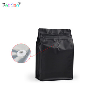 100pcs Eight-sided zipper bag flat bottom black aluminum foil ziplock bags stand up pouches for air valve coffee bean wholesales