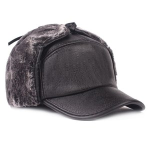 Cuir Cap Hommes \ cuir Earmuffs hiver 's chapeau chaud plus Oreille velours Protecteur Cap Locomotive Middle-Aged Hat