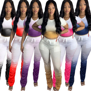 Le donne di pendenza pieghe delle colture top micro punte svasato impilati pantaloni 2 a due pezzi abiti set di tute sportive caduta estate più dei vestiti di formato