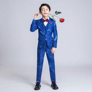 6PCS Boys Suits For Wedding Party Blazer Jacket Blazer Vest Pants British Style Feather Pattern Costume Mariage Kids Suits EpL9#