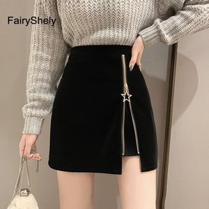 FairyShely Black Zipper Mini Skirt Women Velvet Short Pencil Skirt Ladies 2020 Fashion Office Work High Waist Skirts Faldas T200712