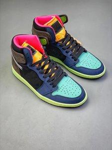 Alto OG 1 Bio Hack 2020 Release 1s Zapatos barroco Brown Negro-Naranja-Laser Racer rosa para hombre zapatillas de baloncesto de los hombres Deportes 555088-201