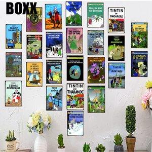 Tintin Cartoon Movie Targa piastra metallica Ferro Pittura Kids Room parete Bar Coffee Home Decor Arte Artigianato Poster 30x20cm