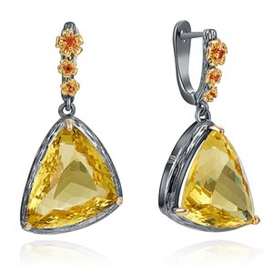 Large Triangle Golden Cubic zirconia stones Dangle Earrings Jewelry Unusual design Luxury Big earring for Women