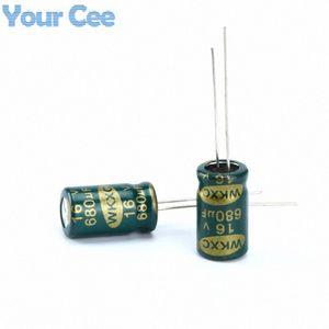Wholesale-20 piezas condensadores electrolíticos de alta frecuencia de 16V 680UF Condensador electrolítico de aluminio YdyY #