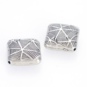 Miasol 22x9.5 MM Plating Acrylic Antique Style Design Cobweb Stripe Square Spacers Charms Beads For Diy Bracelet Jewelry Making