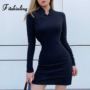 Fitshinling Gothic Chinese Style Cheongsam Dress Women Buttons VIntage Long Sleeve Bodycon Dresses Black Grunge Dark Vestidos