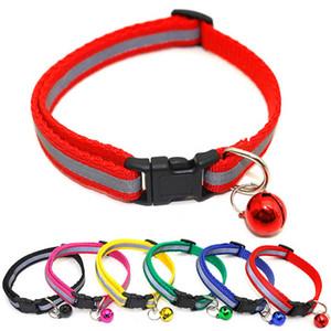 Reflexivo Charm and Collar Cat Sino Segurança elástica ajustável com suave Velvet material 12 cores pet produtos colarinho cão pequeno