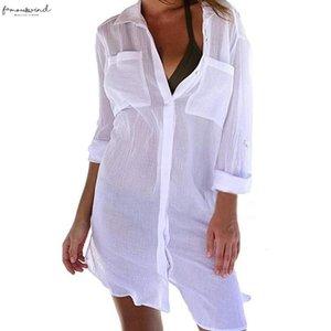 Button spiaggia delle donne di occultamento di Down tasca T-shirt protezione solare Bikini Swimsuit camicetta Hot Sexy Slim belle donne Camicia Cd