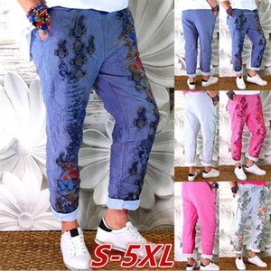 Long Womens Pants Casual Plus Size Femme Trousers Floral Womens Pants Rose Printed Loose Mid Waist