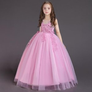 New Weddings Party Dress for Girls Lace Beading elegant Bridesmaid Girl Dresses princess long prom Dress for first communion