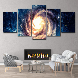5 Panels Large Dream Spiral Galaxy Landscape Canvas Painting Wall Art Mural Posters & Prints Modern Picture for Living Room Home Decor