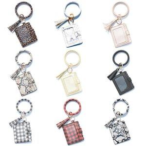 Porte-clés carte Sac Femmes Hommes Leopard serpent portefeuille en cuir PU Tassel Kabaw Bracelet Mode Keychain Porte-Monnaie Cadeau de Noël Bracele LSK246