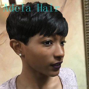 None Lace guleless Wigs very short Human Hair wigs for Black Women Full Lace Short Bob No lace front Wig for Black Women