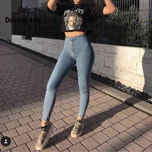 Spring Fashion jeans femminili delle donne Skinny Jeans Denim Slim elastico Pantaloni a vita alta matita Femme Denim Pantaloni alta Wiast