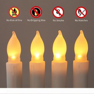 12 PCS Set 2.1*16.5cm Battery Operated Flameless LED Taper Candles Lights for Wedding Birthday Churches Christmas Party Decorations