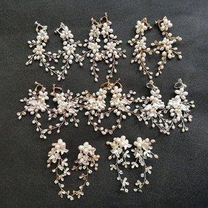 SLBRIDAL cristaux Strass main PERLES mariage Dangle Boucles d'oreilles de mariée Boucle d'oreille chandelier Mode femmes Bijoux 4RQv #