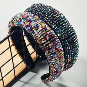 Kadın Geniş Saç Hoop Brida Düğün Saç Aksesuarları için Barok Lüks Tam Renkli Kristal Saç Bandı Bling Boncuklu Kalın Sünger Kafa