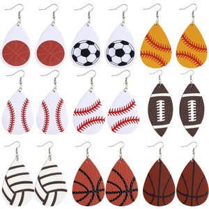 New Water Drop PU Leather Earrings Printed Football Basketball Rugby Volleyball Earring Women Dangle Double-sided Ear Hook Eardrop Jeweley