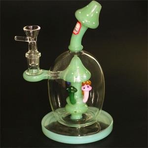 Recenti Pipes funghi Bong soffione Perc bicchiere d'acqua di sfera di stile Oil Rigs Dab unico Bong pipe 14mm congiunta con ciotola di vetro