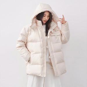 Janveny 90% белая утка вниз куртка Сыпучей среднедлинной Puffer пальто Толстых теплый женские ветровки Пуховой Одежда с капюшоном снег Outwear