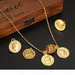 H 24k Real Solid Gold Coin Jewelry Sets ,Ethiopian Coin Set Necklace Twin Pendant Earrings Ring Habesha Wedding Eritrea Africa Arab Gif