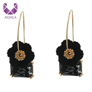 Flower Shape Hoop Earrings with Square Crystal Korean Bohemian Pendants Jewelry Gifts Drop Earrings For Women