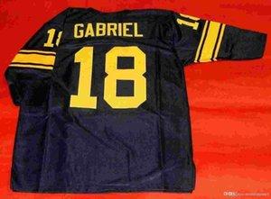 Pas cher rétro # 18 ROMAN GABRIEL CUSTOM manches 3/4 S-5XL, 6XL MITCHELL NESS Jersey Mens surpiqures S-5XL, 6XL Football Maillots Tapis