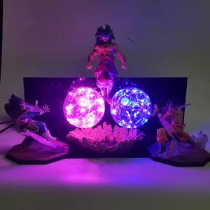 Dragon Ball Z Goku Vegeta vs Broly Led Lamp Action Figures Toy Anime Dragon Ball Super Kamehameha Figurine DBZ Brinquedos T200118