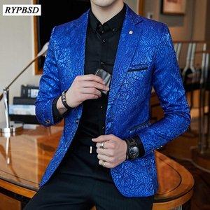 Rose Jaquard Print Slim Fit Blazer Royal Blue Black Promo Blazer For Men Stylish Business Casual Party Wedding Suit Coat