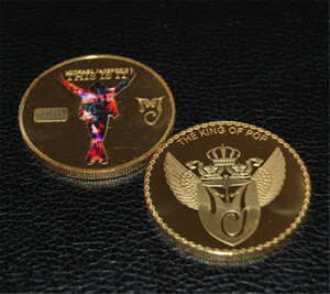 Michael Jackson o rei do pop banhado a ouro comemorativas Moedas Coin Presente do aniversário Pop colecionáveis DHL frete grátis 100pcs / lot