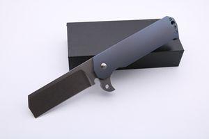 Cuchillo plegable de alta calidad de encargo big Salsh Flipper Stonewash hoja azul anodizado manija Titanium táctico de la supervivencia cuchillos de bolsillo