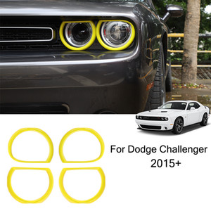 Yellow Car Headlight Ring ABS Decoration Cover For Dodge Challenger 2015 UP Factory Outlet Car Interior Accessories