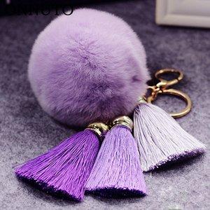 Fashion Women Faux Fur Cony Hair Ball Pompom Charm Thrice Tassel Keychain Handbag Key Ring Pendant