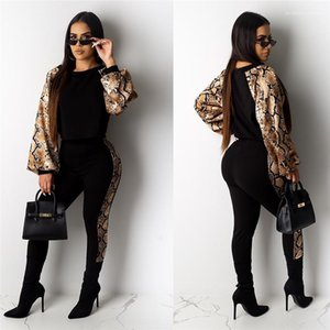 Long Sleeve Sexy Bodycon Two Poece Pants Casual 2PCS Sets Fashion Snakeskin Grain Womens Tracksuits Designer