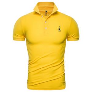 패션 디자이너 새로운 폴로 셔츠 남성 솔리드 캐주얼 코튼 폴로 기린 남성 슬림핏 자수 짧은 소매 남성 폴로 10 색상