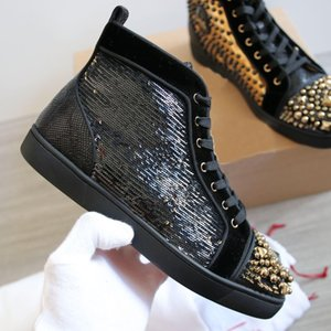 Studs Spikes Sneakers Shoes For Women, Mens Black-gold Beads Red Bottom Casual Shoes Walking Perfect Waterproof Box, Dust Bag, EU35-47 c29