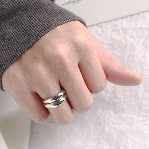 LouLeur 925 anneaux élégants argent sterling anneaux ajourés brillant en argent simple surface courbe sauvage pour les femmes festival bijoux Uies #