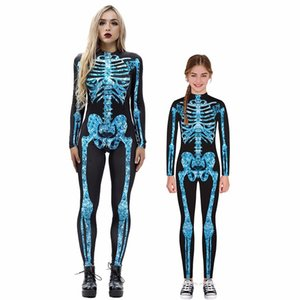 3D skeleton digital printing parent-child long-sleeved jumpsuit tights bodysuit long sleeve bodysuit Jumpsuits Casual Skinny
