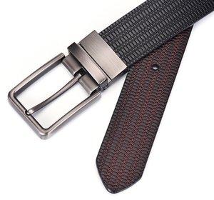 """Cuero del vestido de los hombres reversible 1.5"""" Wide girado la hebilla de correas de cuero de la manera simple diseño de negocios de alta calidad de ocio de moda 202"""