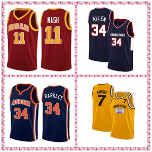 NCAA jerseys 7 Toni Kukoc 34 Ray Allen Charles Barkley 11 Steve Nash Stitched basketball jersey free shipping