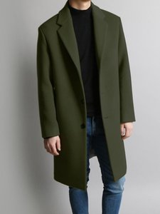 Wool Trench Coat Men Autumn Winter Single Breasted Long Blends Coat Solid Color High Quality Brand Male Clothing Plus Size