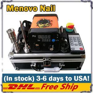Menovo elétrica Titainium Dab Nails Pen Rig Oil Wax tateamento PID TC Box Com Domeless Bobina Heaer Dnail Kit Silicone Pad 0268110-1