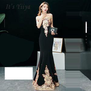 It's Yiiya Evening Dress Short Sleeve Women Party Dress 2019 Boat Neck Robe De Soiree Long Plus Size Sexy Slim Prom Dress E579 Y190710