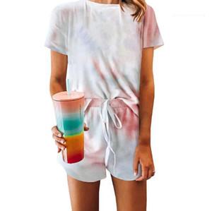 Short Pants Womens Sleepwear 2pcs Crew Neck Home Clothing New Casual Womens 2PCS Sleepwear Short Sleeve